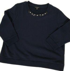 Banana Republic Jeweled Neck Cool Black Sweatshirt